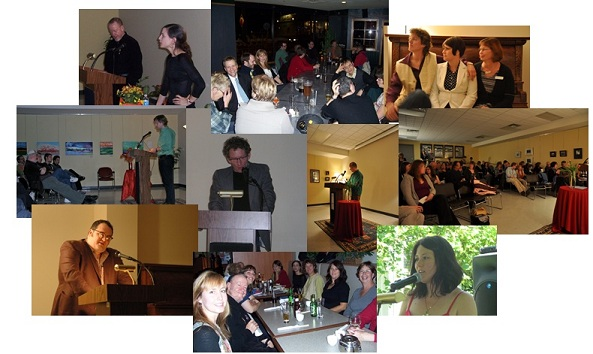 Past seasons of Poetry London reading series, a photo collage.