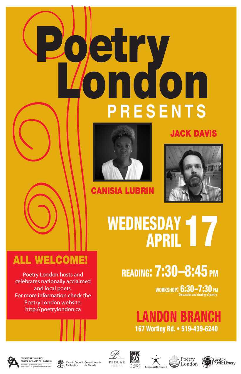 Poetry London Presents Jack Davis and Canisia Lubrin Wednesday April 17
