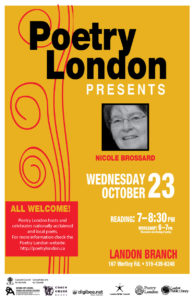 Poetry London Presents Nicole Brossard October 23rd 2019