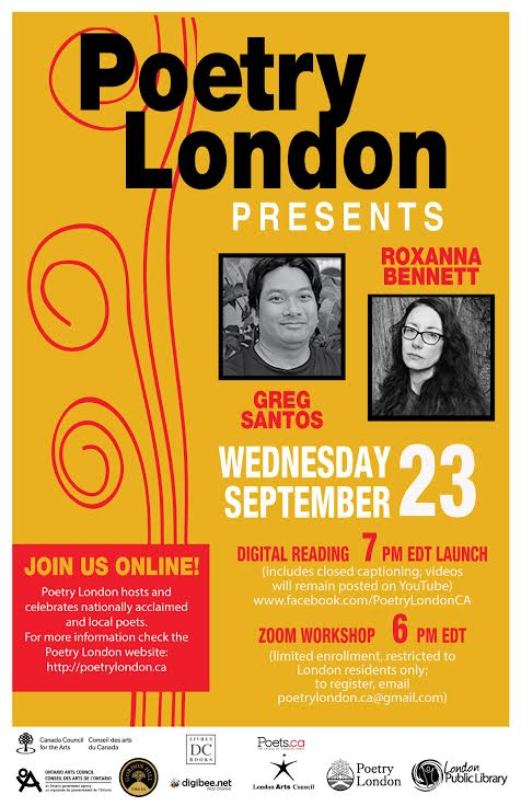 Poetry London Presents Roxanna Bennett and Greg Santos. Wednesday September 23 7pm