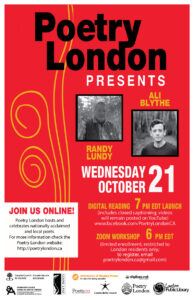 Poetry London (Online) Presents Randy Lundy and Ali Blythe Wed Oct 21 2020